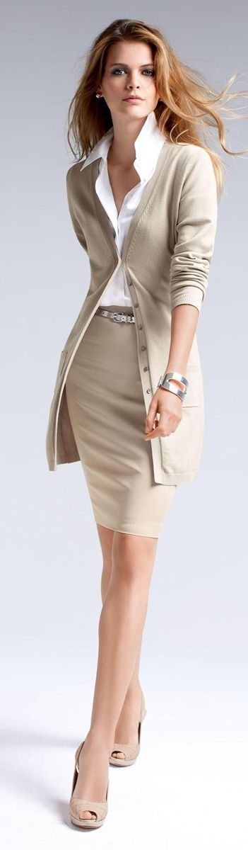 Beige and white office wear. Love that skirt.