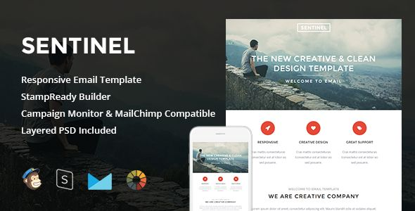 Sentinel - Responsive Email + StampReady Builder - Newsletters Email Templates