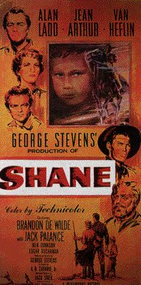 Shane is a 1953 American Western film from Paramount.  It was produced and directed by George Stevens from a screenplay by A.B. Guthrie Jr., based on the 1949 novel of the same name by Jack Schaefer. Its Oscar-winning cinematography was by Loyal Griggs. The film stars Alan Ladd, Jean Arthur (in her last film after a thirty-year career) and Van Heflin, and features Brandon deWilde, Elisha Cook Jr., Jack Palance and Ben Johnson.