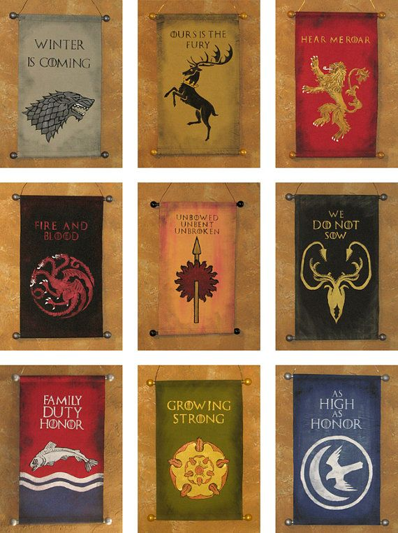Game of Thrones Nine Banner Bundle!  Great Houses of Westeros, hand painted canvas banners by Lorinas, $160.00