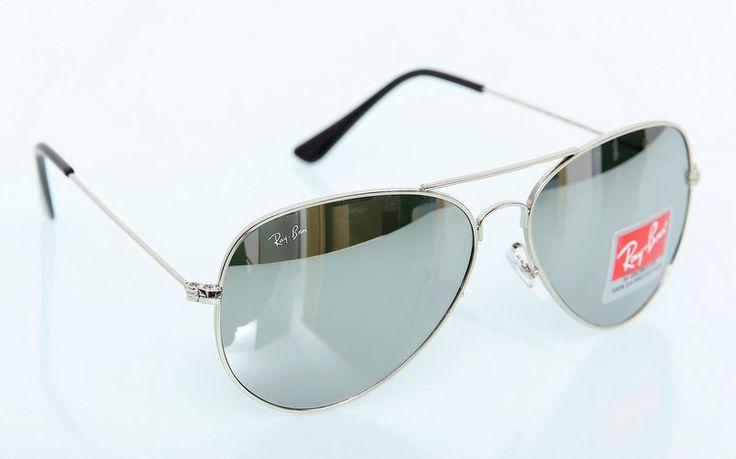 Солнечные очки Ray-Ban Aviator (Авиатор RB 3025) серебряная оправа, зеркальные поляризованные стекла #18984