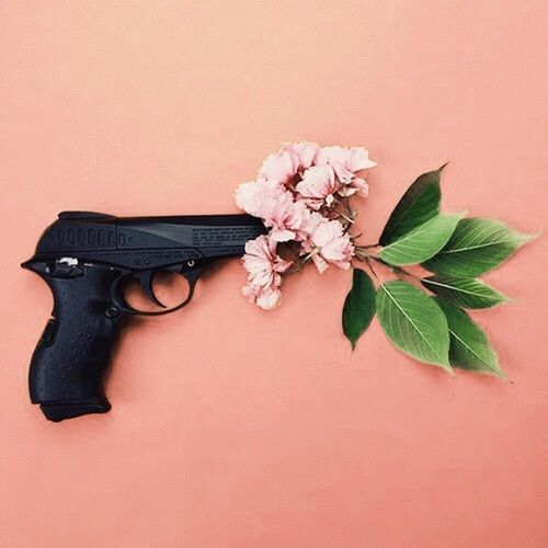 flowers, gun, and leaves image