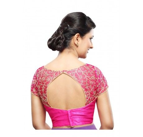 Ready made High neck Stitched padded saree blouse with zari embroidered net - Blouses - Saree,Blouse & more