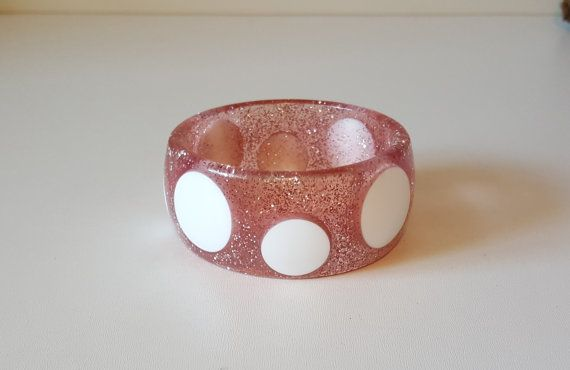 Vintage Chunky Pink Sparkle Bangle Bracelet with by RetroEnvy21