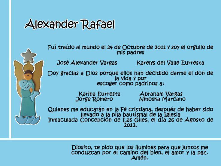 ... Tarjeta de Bautizo. #ArcangelRafael
