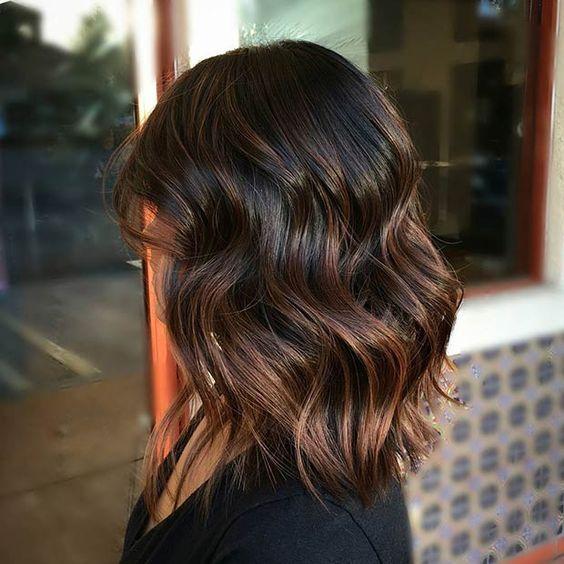 rich chocolate brown hair with caramel balayage highlights