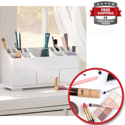 White-Beauty-Organizer-Cabinet-Storage-3-Drawer-Wood-Cosmetics-Hair-Accessories