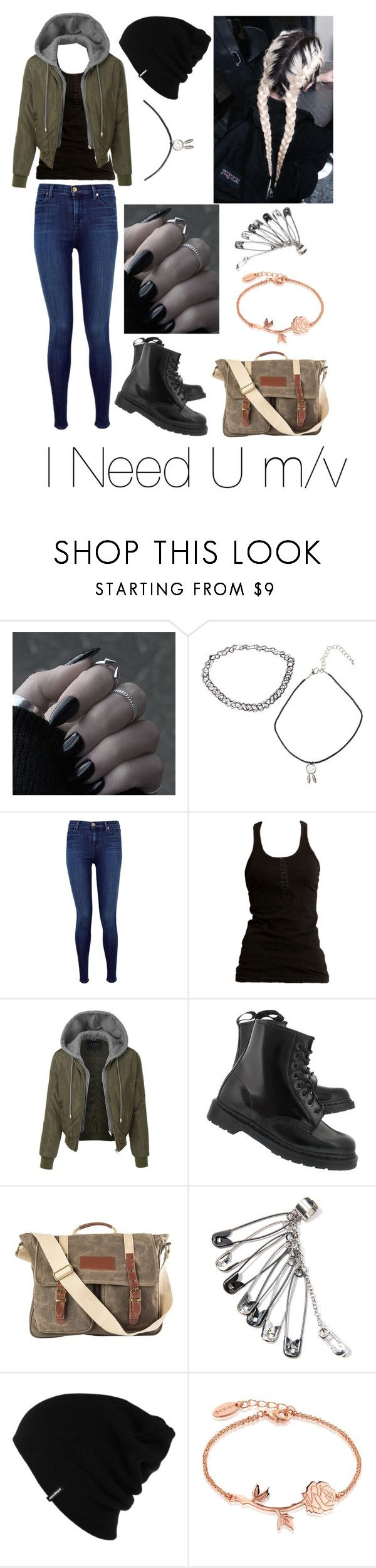 """I Need U m/v"" by trashlogic ❤ liked on Polyvore featuring Hot Topic, J Brand, Dr. Denim, LE3NO, Dr. Martens, Identity, Cathy's Concepts, Patagonia and Disney"