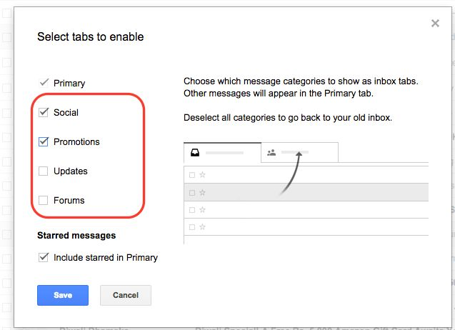 How to enable/disable gmail inbox category tabs - InfoHeap