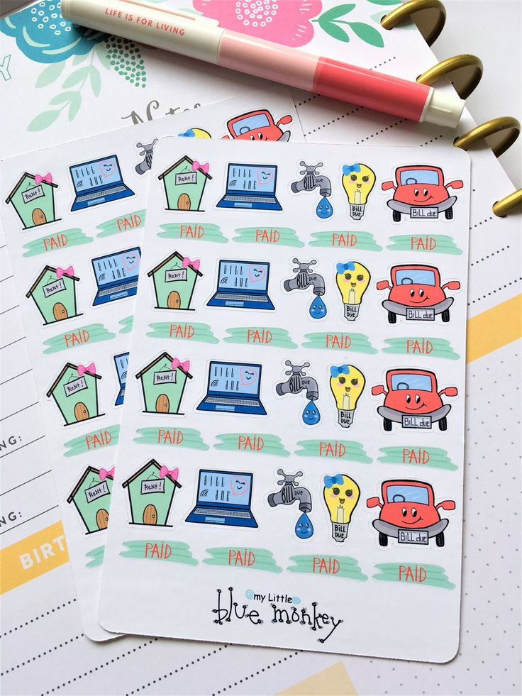 Bills Due Planner Stickers - Rent/House Bill, Internet Bill, Water Bill, Electricity Bill, Car Payment, Paid (MM021) by MyLittleBlueMonkey on Etsy