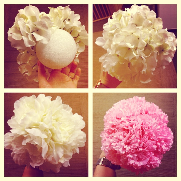 Hanging this over my dessert table at our reception- so easy! Buy fake flowers and poke them into a styrofoam ball and then hang from a string! #wedding