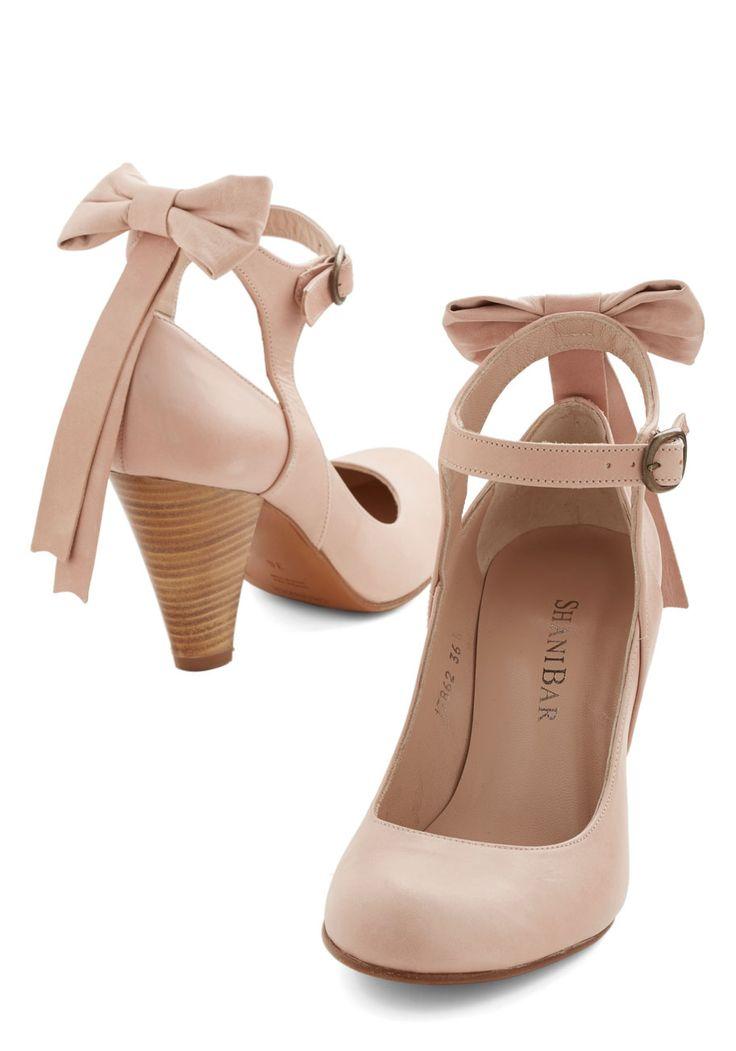 Bow My Darling Heel in Petal | Mod Retro Vintage Heels | ModCloth.com