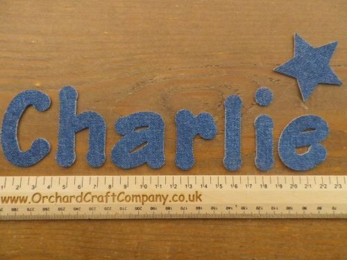 a set of 7 iron on denim letters or numbers size 4 5 cm