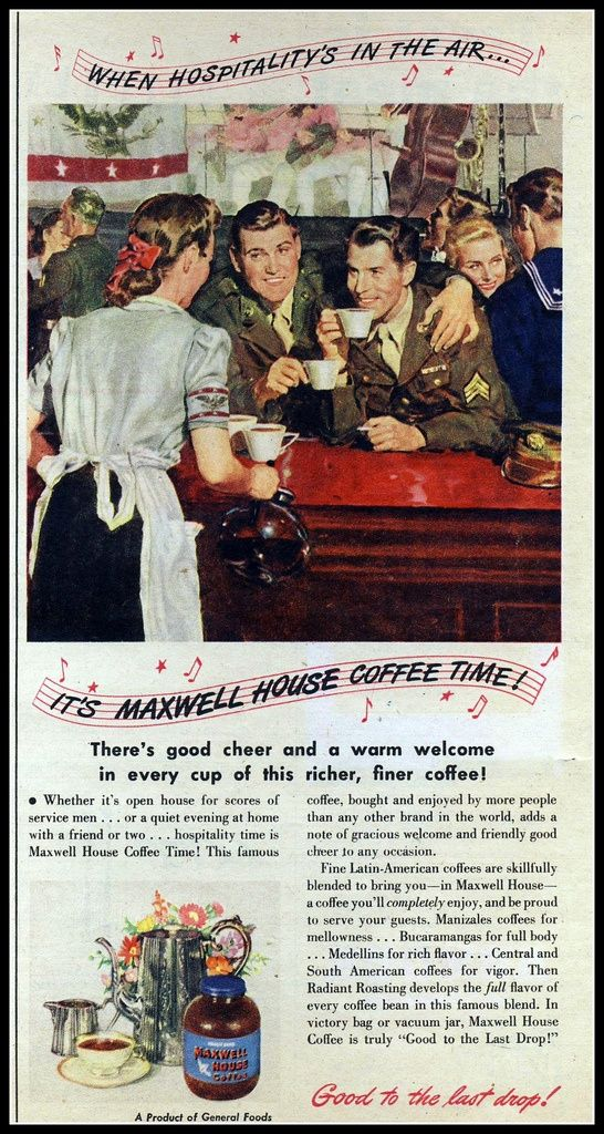March 1945 Maxwell House coffee ad