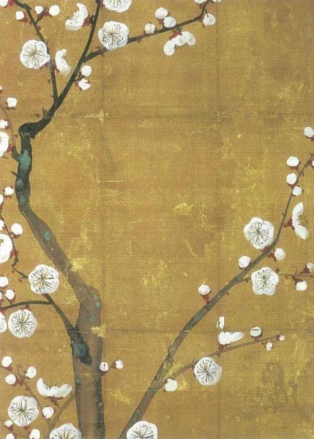 白梅図香包  尾形光琳  江戸時代18世紀  光琳は、香木を収めるための絹地の包みに、草花や鶴などを描いた作品をいくつか残しています。この図もそうした中の一つで、光琳独特の、花弁の区分がない白梅の花をつけた梅樹が描かれています。香木を包む中央の四角には絵がかからないように工夫されています。