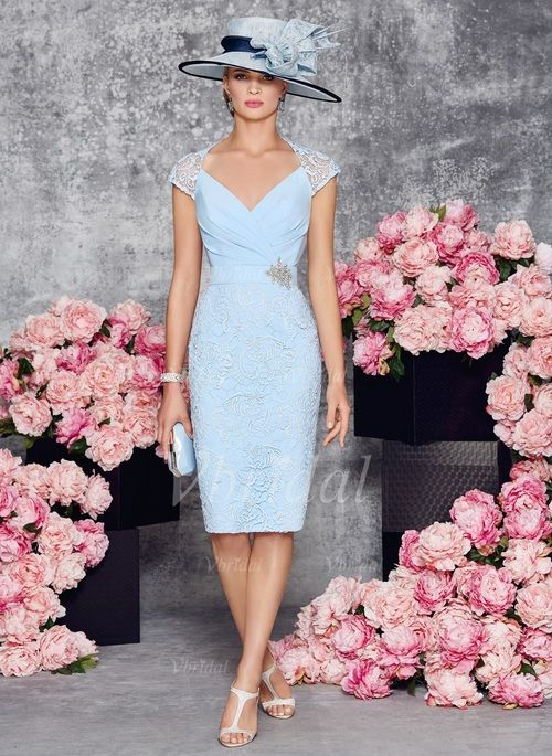 Sheath/Column V-neck Knee-Length Ruffle Appliques Lace Crystal Brooch Satin Lace Zipper Up Covered Button Cap Straps Sleeveless Yes Sky Blue Spring Summer General Mother of the Bride Dress
