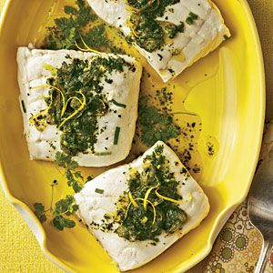 Poached Halibut with Lemon-Herb Sauce - Cooking Light: Food Recipes ...
