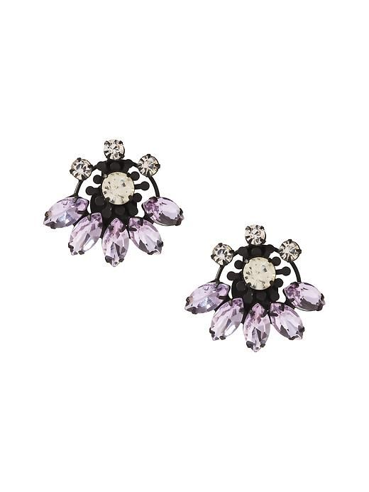 Accessorize your winter style with these sparkly black jeweled stud earrings | Banana Republic