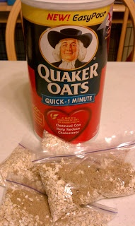 Oatmeal to go for cents a day: I make mine with cinnamon and ground flax seeds.