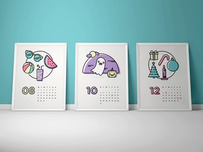 Calendar illustrations #magdagogo #dribbble #calendar #illustration #vector #pastel