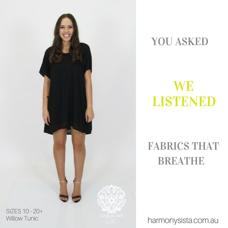 We Listen ....... Fashion that fits real women SiZES 10-20+ Harmony Sista Willow Tunic / Dress www.harmonysista.com.au