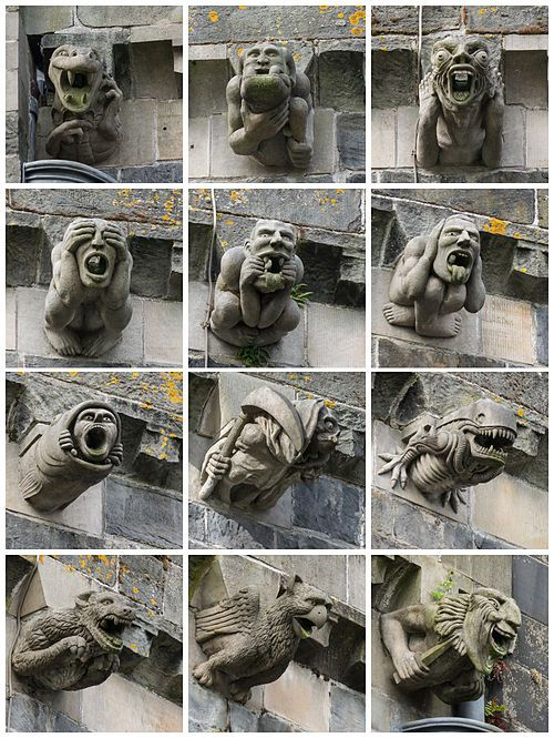 Gargoyles of Paisley Abbey, Scotland, rebuilt in the 14th century, uncredited photos