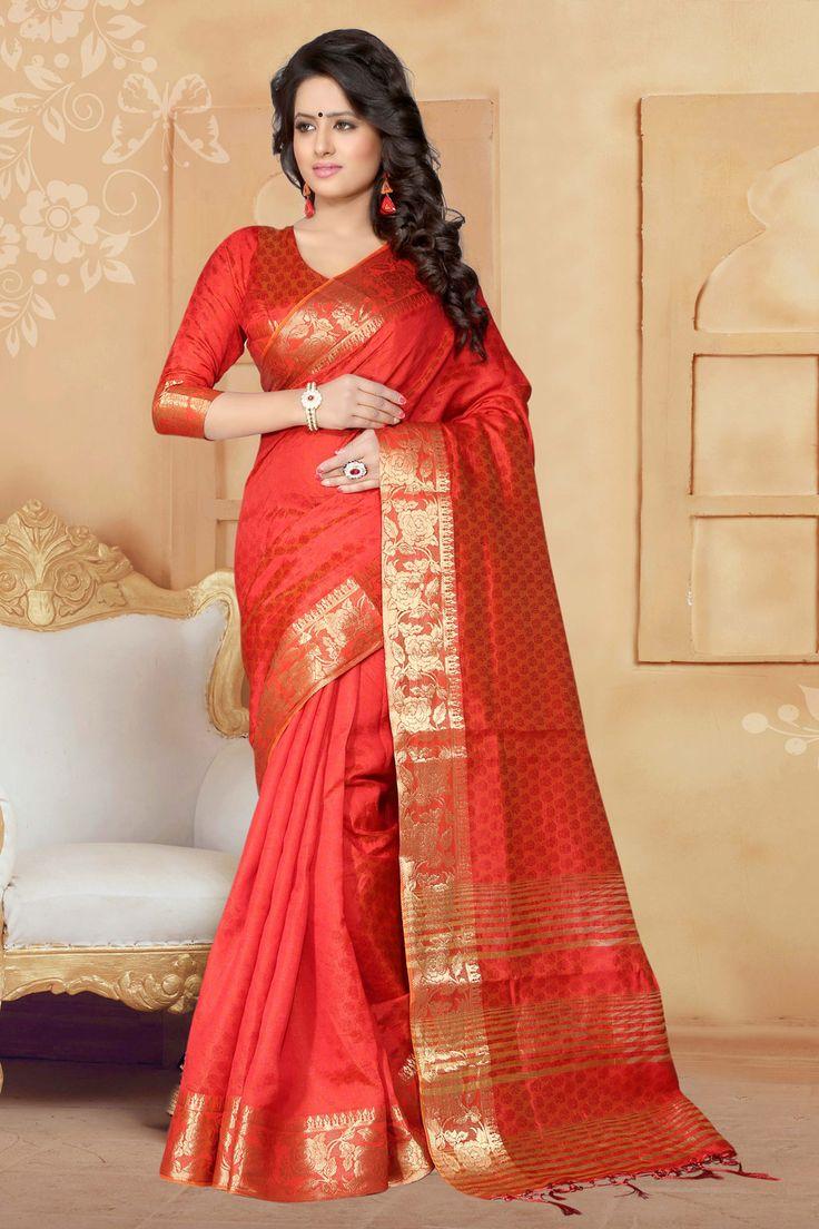 Red Banarasi Silk Saree With Blouse 65643