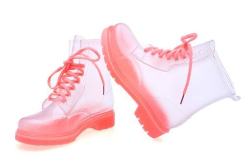 Women-Pink-Clear-Jelly-Rain-Boots-Lace-Up-Low-Ankle-Flat-Rubber-Wellies-Shoes