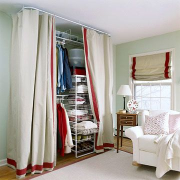 I did this when I re-designed my bedroom in high school! I loved it. Set Up a Temporary Closet  Can't afford the space or money to build a closet? Here's one great solution using drapery panels, easy-to-install hanging rods, and wire basket storage systems.