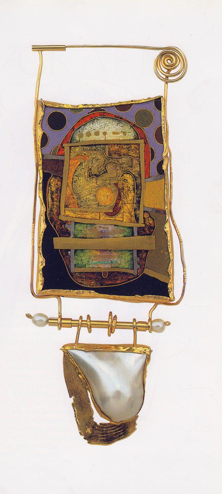 william harper ENCLOSED TATTOO 1981 Gold cloisonne' enamel on copper w/ golden silver foil; 14 kt gold; sterling silver; pearl