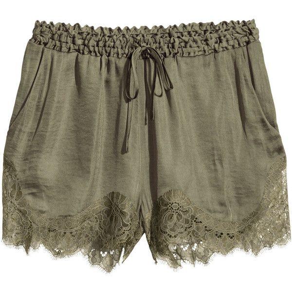 H&M Satin shorts (40 CAD) ❤ liked on Polyvore featuring shorts, bottoms, pants, khaki green, short shorts, short khaki shorts, green shorts, h&m and lace trim shorts