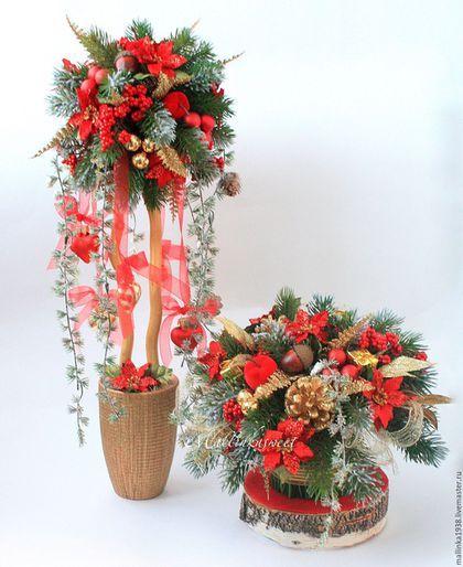 """Топиарии ручной работы. Ярмарка Мастеров - ручная работа. Купить Топиарий новогодний, дерево счастья """"Рождество"""". Handmade. Ярко-красный"""
