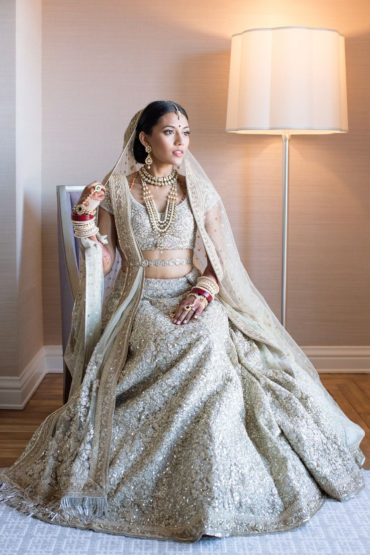 White and gold indian wedding dress