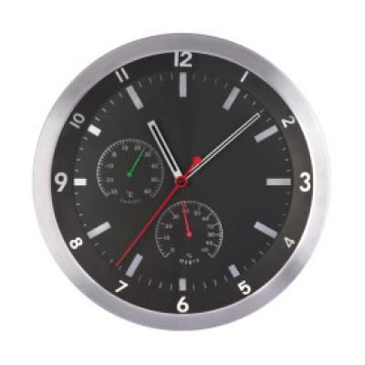 Image of Promotional Wall Clock In Black.Engraved Wall Clock.