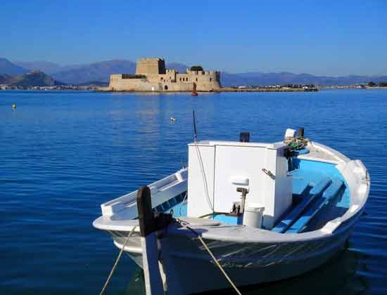 Fishing boat opposite to #Bourtzi #Fortress in the Port of #Nafplio, #Argolida, #Greece