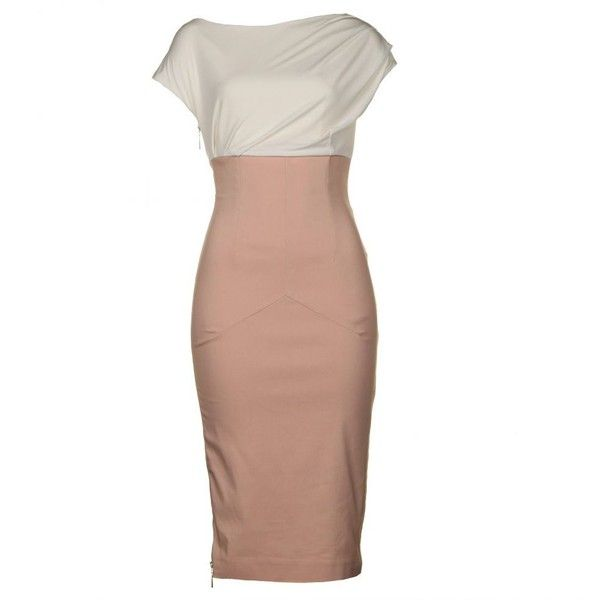 So Couture Women'S Melrose Nude & Cream Tailored Pencil Dress found on Polyvore