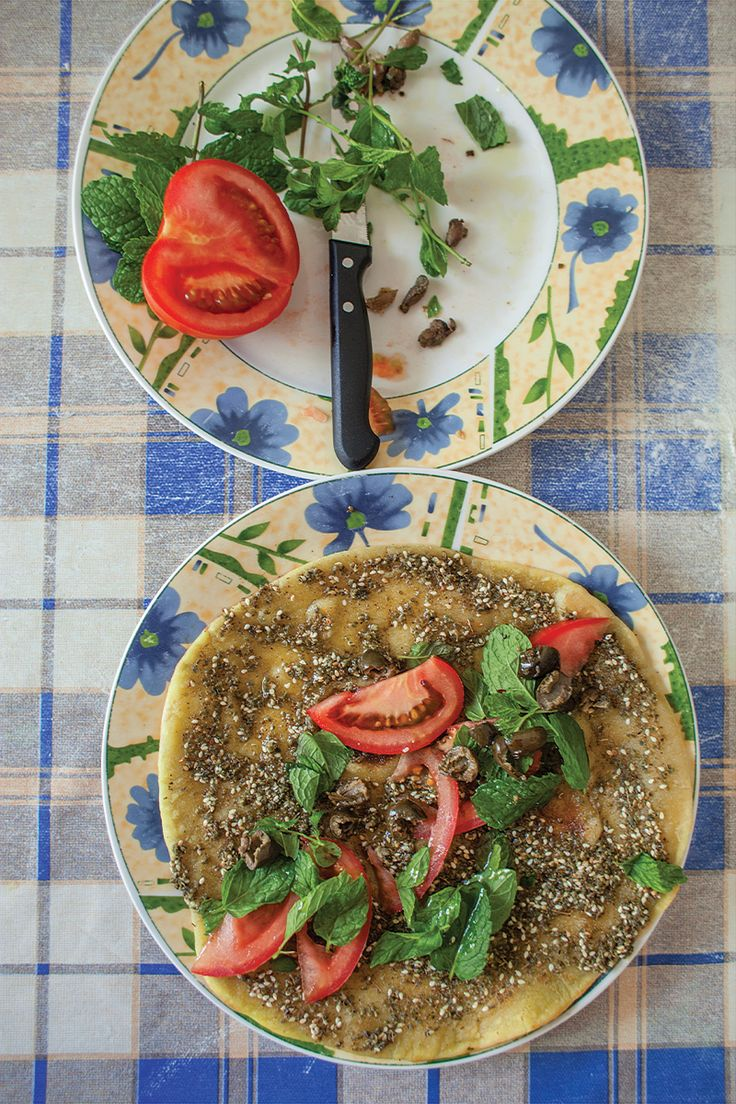 Man'oushé bil Za'atar (Flatbread with Za'atar): Za'atar, a Middle Eastern spice mix of wild thyme, sumac, and toasted sesame seeds, tops chewy flatbread in this iconic Lebanese snack.
