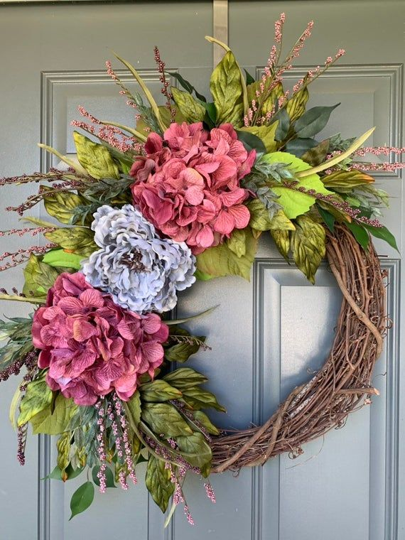 Hydrangea Wreath,Summer and Fall-Wreath made with Pink Hydrangea Lilies and Blue Wildflowers Wreaths,Spring wreath Pink Lilies Wreaths