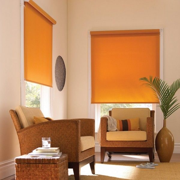 Яркие рулонные шторы из плотной ткани