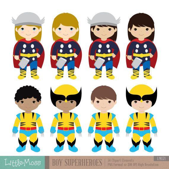 Boys Superhero Costumes Clipart 2 Boy Superheroes