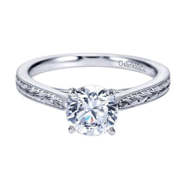 14K White Gold Engraved Solitaire Round Diamond Engagement Ring