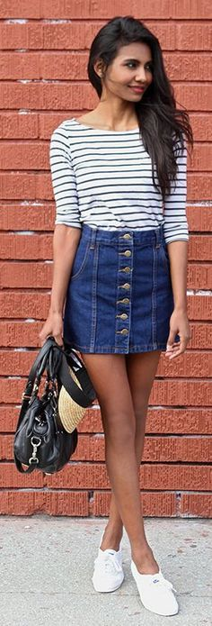 Striped Shirt, Denim Button Skirt, and white slip ons