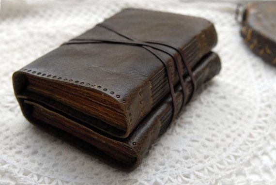 Double Expression - Rustic Leather Double Journal, Dark Brown, Hand Embossed…