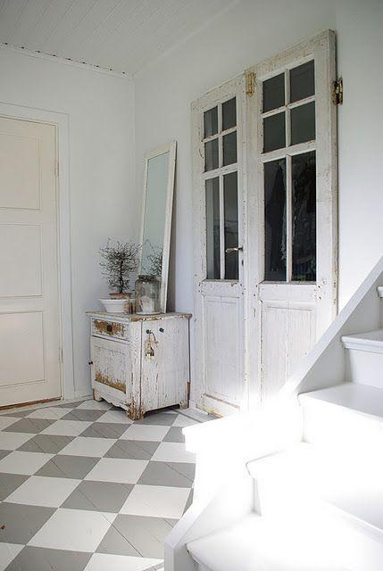 grey & white chequer-board flooring