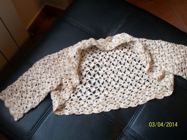 coprispalle in puro cotone  all'uncinetto ideale per le serate estive o per una cerimonia
