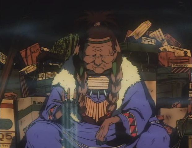 The Native American from Cowboy Bebop, who gives the protagonist word of advice to save him as well as appearing mysteriously throughout the story.