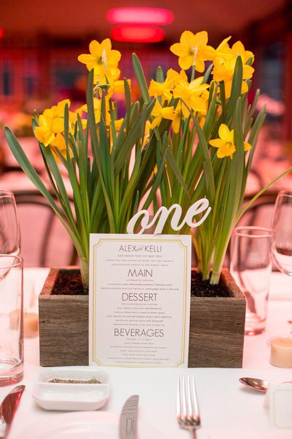 Daffodil Wedding Centerpiece    #wedding #weddingideas #aislesociety #weddingflowers