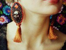 Calaveritas - bead embroidery earrings with tassel