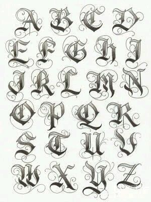 Graffiti Alphabet Sketch Letter Font A To Z With Chicano Style For Lettering Tattoo Design