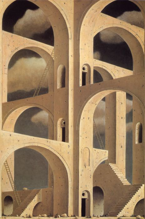 Minoru Nomata: The Architect of Ruins Nomata's surrealism style is similar to Escher's impossible spaces, and through repetition and 'tesselation' of the arches creates a strong sense of depth and pattern.